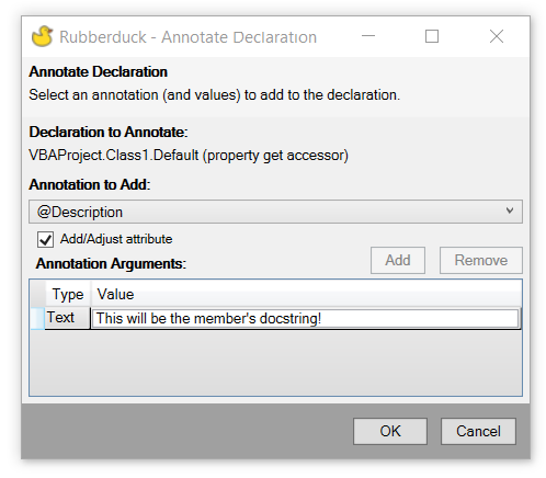 a window describing the member to annotate and the annotation to add